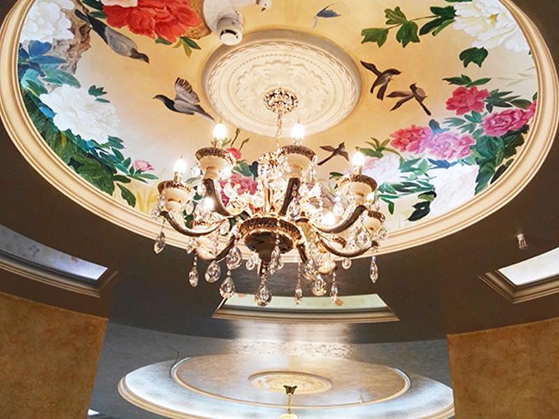 客厅顶面中式彩绘