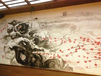 笑来喜湖滨路店面墙体彩绘