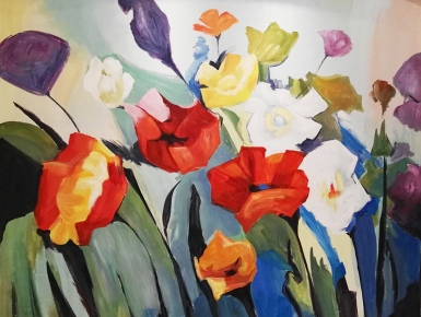 客厅沙发背景墙彩绘