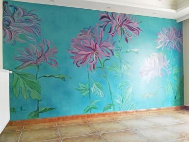 背景墙彩绘